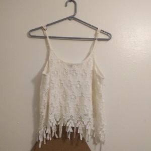 White crocheted crop cami